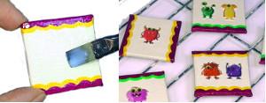 Deko-Magnet Vorderseite mit Serviettenkleber bestreichen und mit Motiv-Sticker bekleben