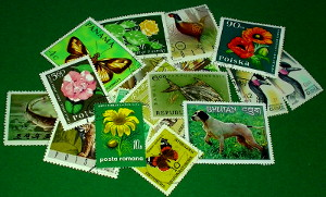 Briefmarken in der Farbe grün