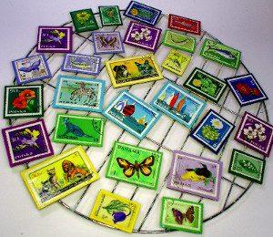Briefmarken-Magnete beim Trocknen