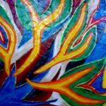 Acrylbild mit bunten Flammen