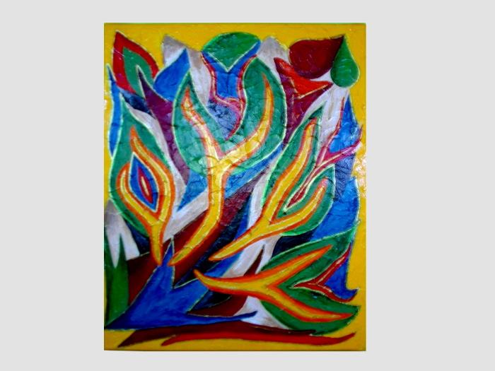 Acrylbild mit bunten flammen idee zum malen mein herz for Acrylbilder ideen