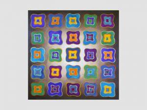 Acrylbild mit bunten viereckigen Formen