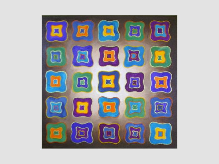 Acrylbild mit bunten Formen - viereckig