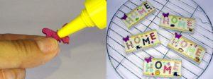 HOME-Magnet mit Holz-Schmetterling bekleben