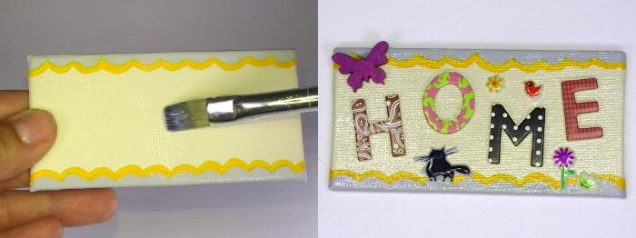 HOME Magnete mit Servietten-Kleber bestreichen und mit Buchstaben und Motiven bekleben