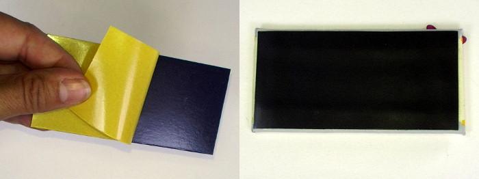 Malkarton Rückseite mit Magnetfolie bekleben