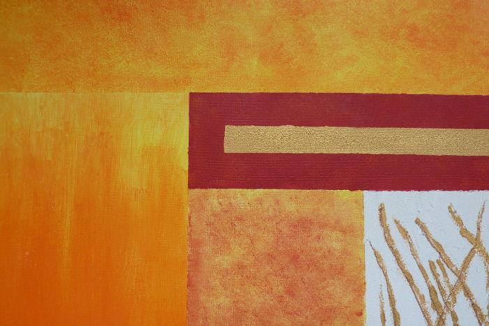 Acrylbild Ausschnitt nach dem Besprühen mit Firnis