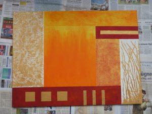 Acrylbild liegend auf Zeitungspapier