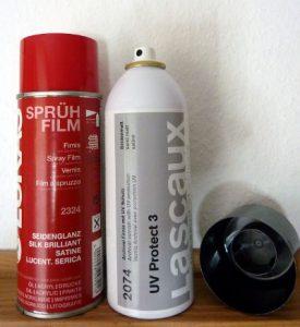 Sprühfirnis in Spraydosen