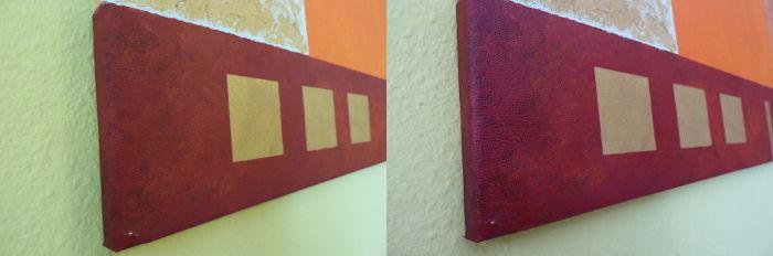 Vorher-Nachher-Vergleich Acrylbild Versiegelung mit Firnis