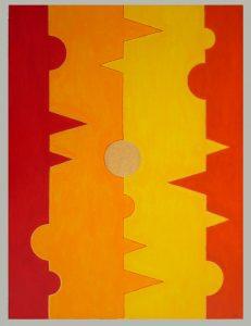 Acrylbild 60 x 80 cm mit einfachen Formen und warmen Farben