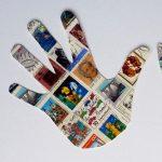 Ausgeschnittene Hände aus Briefmarken