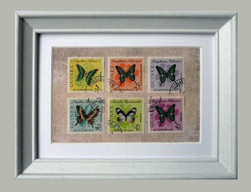 Briefmarken mit Schmetterlingen mit Bilderrahmen