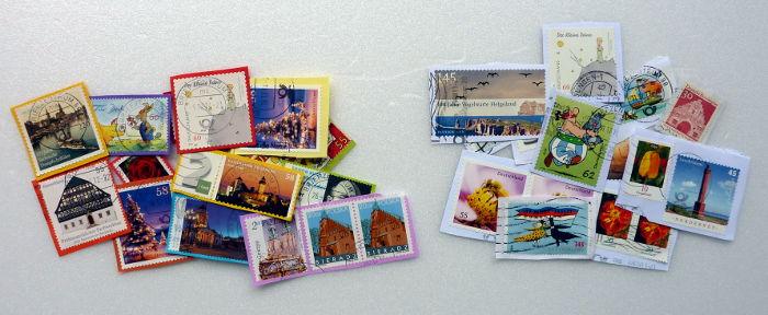 Briefmarken sortiert nach Farbe des Umschlages