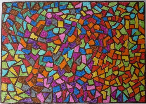 Mosaik Zeichnung auf Papier