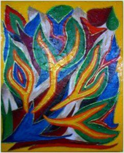 Acrylbild bunte Flammen auf Leinwand 40 x 50 cm