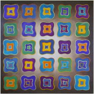 Acrylbild bunte viereckige Formen auf Leinwand 40 x 40 cm