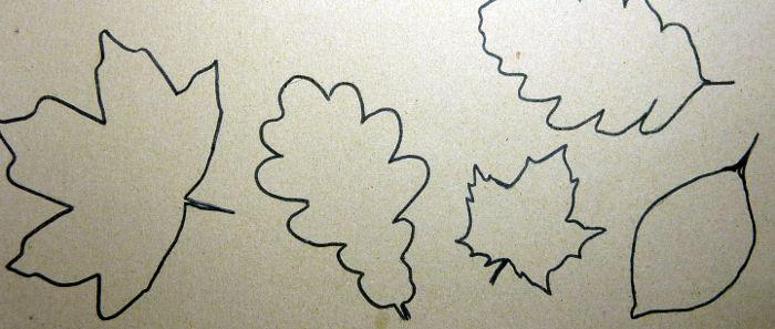 Konturen von Herbstblätter übertragen auf Karton