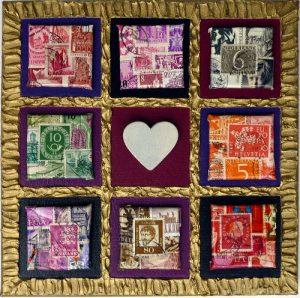 Magnet Collage 20 x 20 cm mit Malkarton 4 x 4 cm beklebt mit Briefmarken
