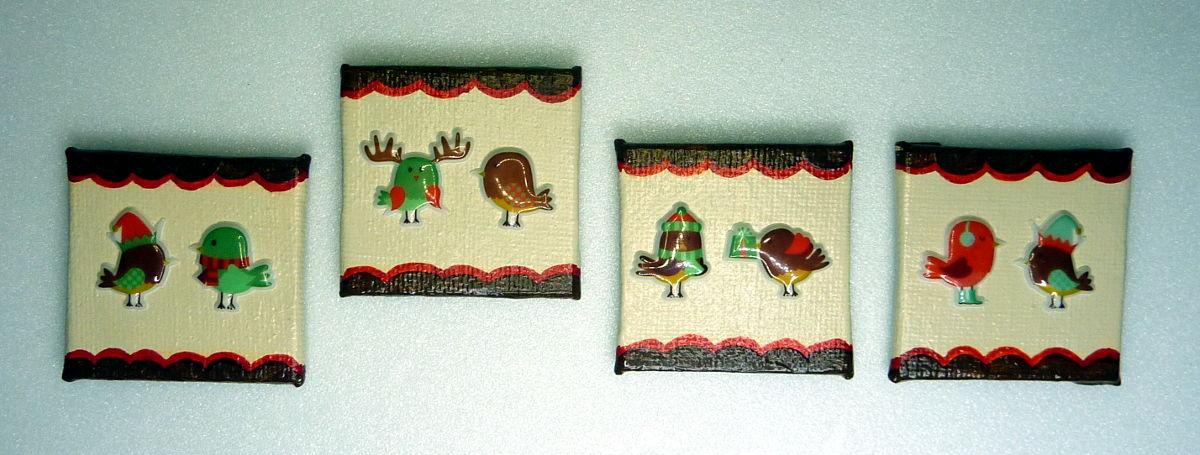 Wenn Vögel Mützen tragen – Magnete basteln für Weihnachten
