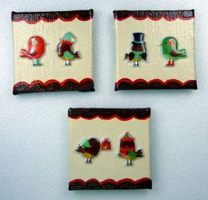 Drei do-it-yourself Magnete mit Weihnachtsmotiv Vögel