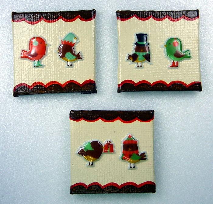 Drei Magnete mit Weihnachtsmotiv Vögel