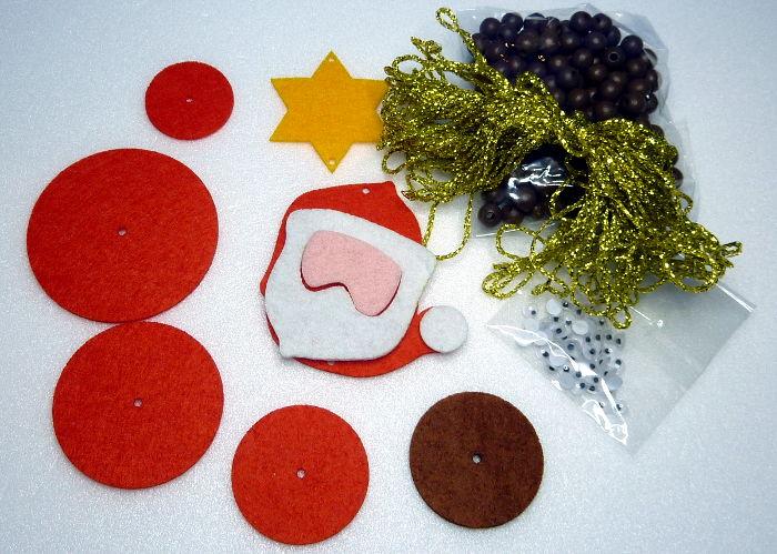 Einzelteile für Weihnachtsmann Anhänger oder Ketten aus Filz
