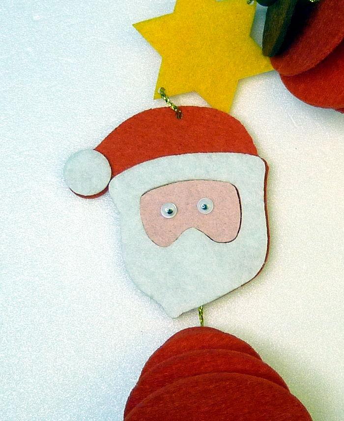 Filzfädelei Weihnachtsmann Gesicht mit Augen aufgeklebt
