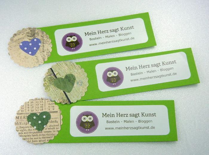 Do-it-yourself Mini Flyer Mein Herz sagt Kunst in grün
