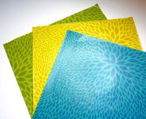 Decopatch Papier in grün, gelb und blau