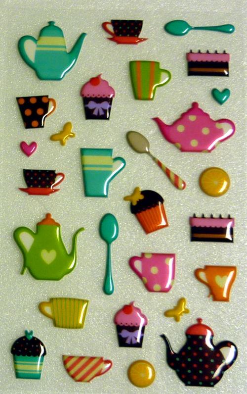 Motivsticker mit Tassen, Kannen und Muffins