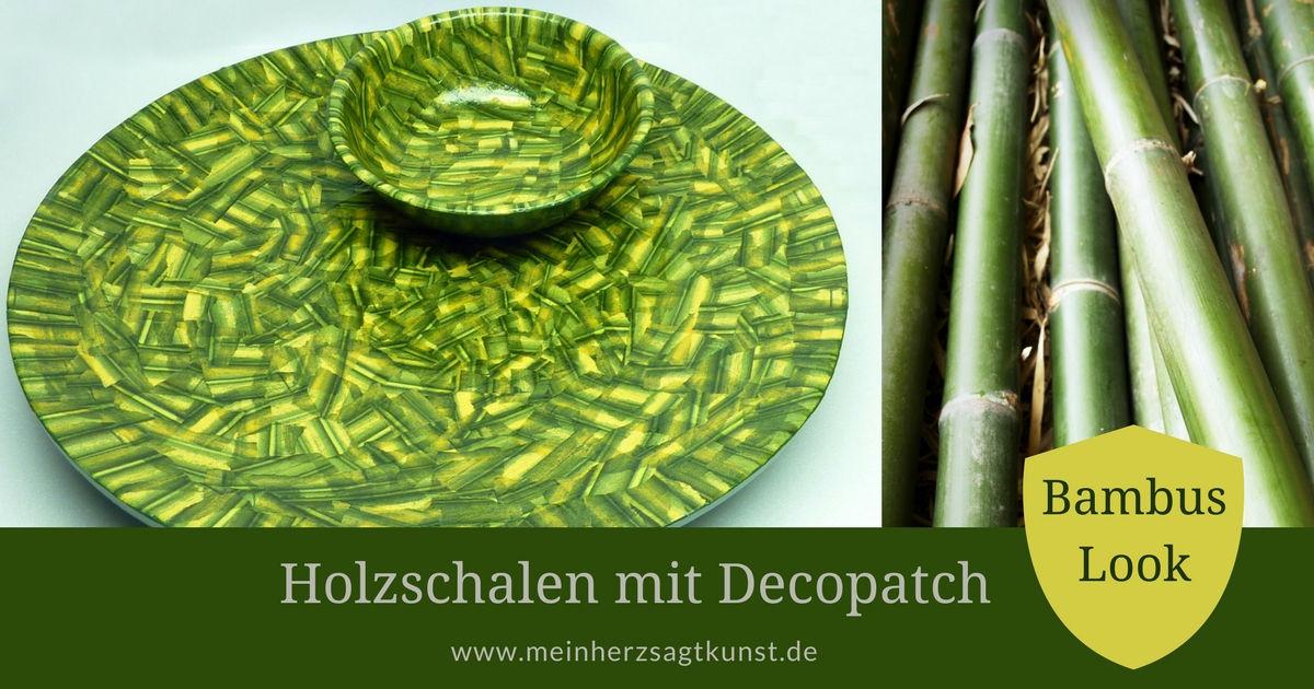 Holzschalen mit Decopatch im Bambus Look