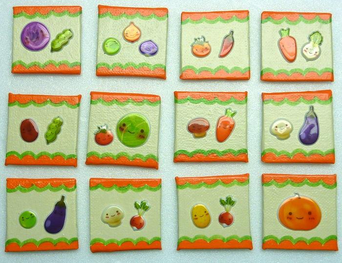 Zwölf fertige Kühlschrankmagnete mit Gemüse Motiven