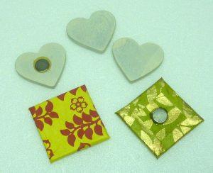 Magnetische Herzen und Vierecke für Collage