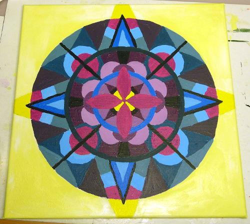 Mandala ausgemalt vor dem Umranden