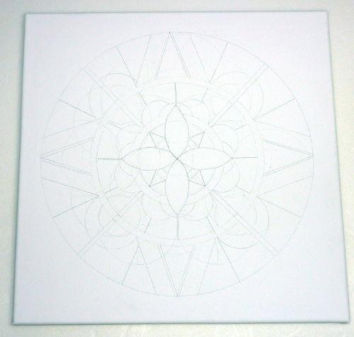 Mandala Entwurf auf Leinwand