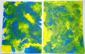 Acrylmalerei Mischtechnik Vergleich Folientechnik mit Spachteltechnik Cyan und Gelb