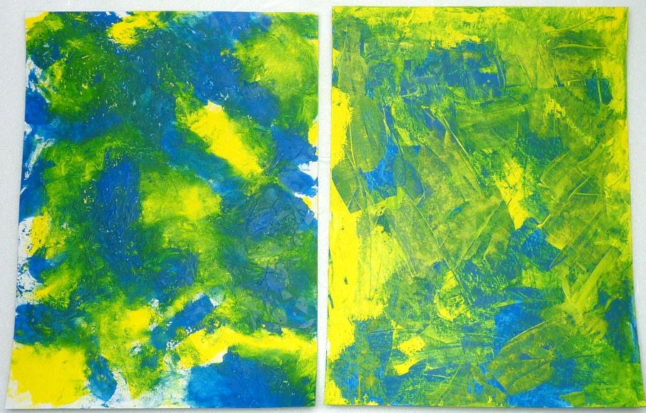 Mischtechnik Vergleich: Cyan und Gelb