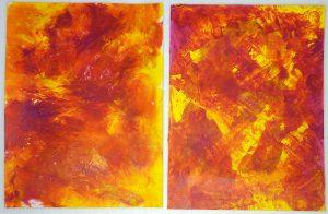 Acrylmalerei Mischtechnik Vergleich Folientechnik mit Spachteltechnik Magenta und Gelb
