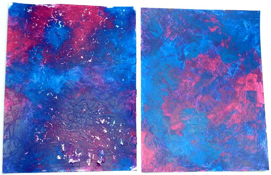 Acrylmalerei Mischtechnik Vergleich Folientechnik mit Spachteltechnik Magenta und Cyan