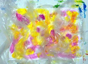 Acrylmalerei Mischtechnik Folientechnik Magenta Gelb mit aufgelegter Folie