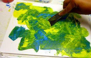 Acrylmalerei Mischtechnik Spachteltechnik Gelb und Cyan
