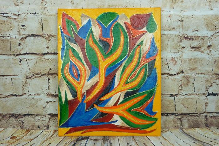 "Abstraktes Acrylbild mit Strukturgel Motiv ""Bunte Flammen"""