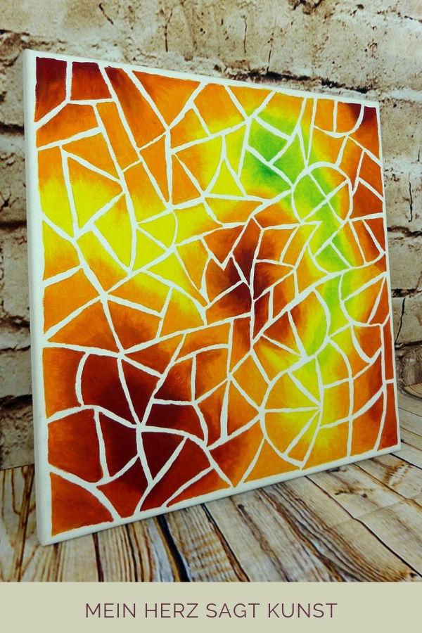 "Abstraktes Acrylbild auf Leinwand 40x40 cm Motiv ""Mosaik-Splitter"""