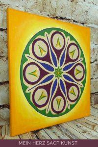 Mandala Acrylbild auf Leinwand 40 x 40 cm