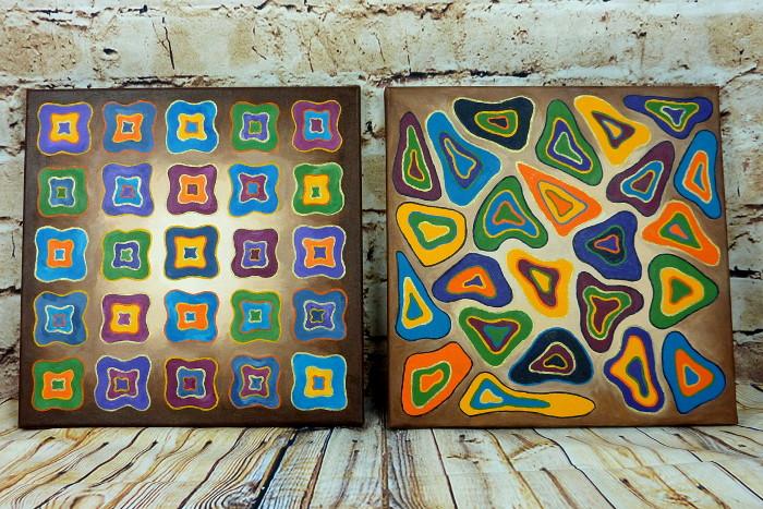 Einfache abstrakte Acrylbilder malen auf Leinwand