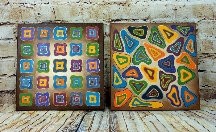 Zwei abstrakte Acrylbilder auf Leinwand 40 x 40 cm