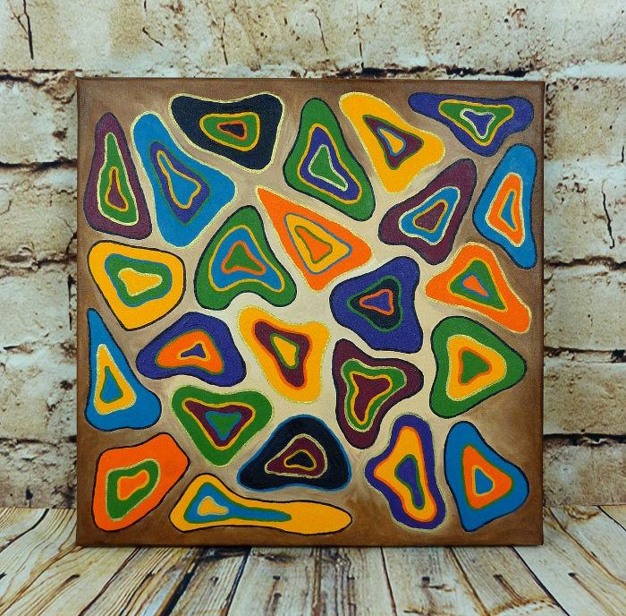 Acrylbild auf Leinwand 40 x 40 cm mit abstrakten Dreiecken