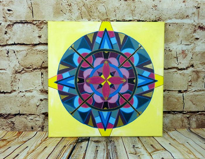Mandala malen mit Acrylfarbe auf Leinwand