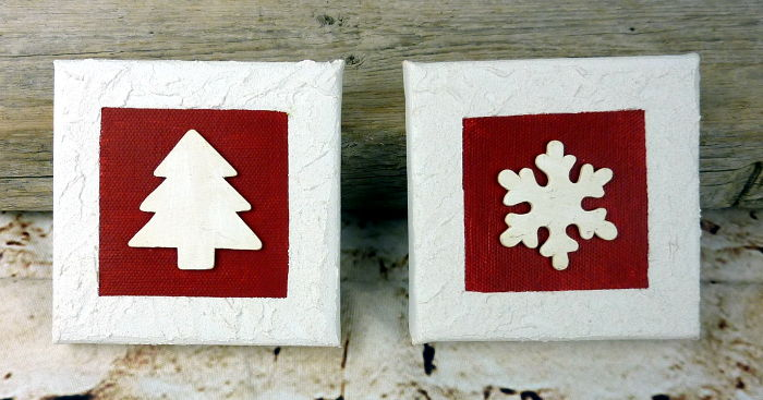 Mini Weihnachtsbilder 10 x 10 cm in den Farben rot-weiß